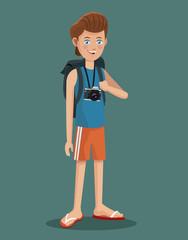 young boy tourist photo camera flip flop vector illustration eps 10