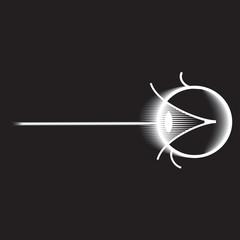 Laser surgery eye diagram, white on black.