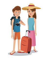 travel couple tourist vacation backpack camera baggage vector illustration eps 10