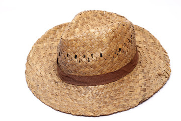Old Yellow wicker straw hat