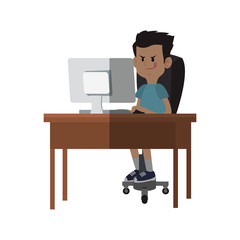 boy cartoon playing on the computer over white background. colorful design. vector illustration