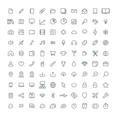 Web minimalistic universal thin line 100 icon set on white background