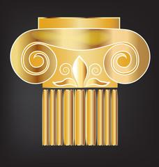 Column historic building gold logo design