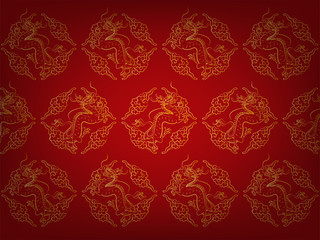 illustration vector fragment of red chinese pattern texture style wallpaper with golden dragons and chinese cloud, chinese dragon pattern wallpaper illustration vector design concept
