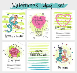 Valentines Day card set vector. Collection of hand drawn greeting covers.