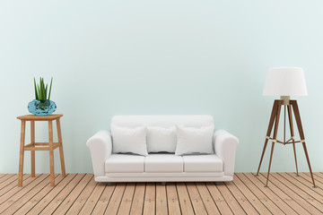 white sofa decorate with tree and lamp in the green room interior design in 3D render image