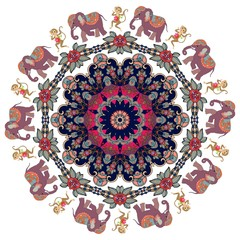 Mandala with cute cartoon elephants and dancing monkeys with clematis - flower. Indian motives. Vector illustration. Magic print for fabric.