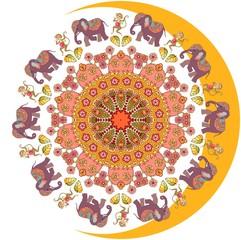 Sun and moon. Beautiful picture with flower - mandala, cute cartoon elephants and dancing monkeys. Vector illustration. Bandana print, greeting card, wedding invitation, wrapping design, tablecloth.