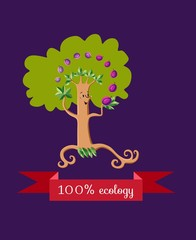 Unusual ecology icon. Merry fabulous plum tree, juggling fruit on dark lilac background. Beautiful packaging for juice. Vector illustration.