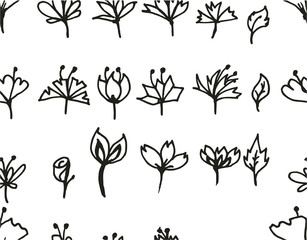Set of tree doodles seamless