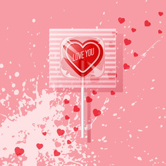 Valentine heart shaped lollipop on pink background. Retro candy design, love you.