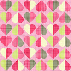 Valentine hearts seamless pattern. Retro style with linen texture.