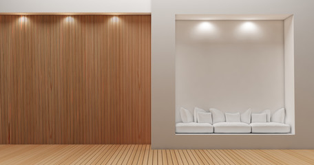 3D rendering image for minimalist and modern wooden wall decoration09