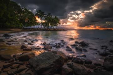 Tropical coastal sunset