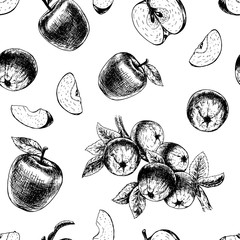 Seamless pattern with apples. Vector sketch
