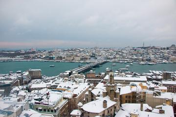 Heavy Snowy Days in Bosphorus Istanbul Turkey.