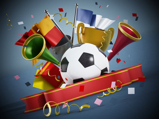 Soccer ball, flags, ribbon and trumpets. 3D illustration