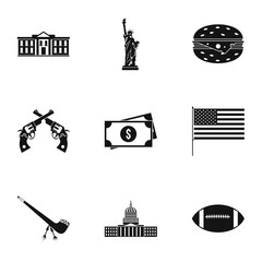Holiday in USA icons set, simple style