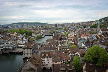 City of Zurich panorama from Grossmünster, Switzerland