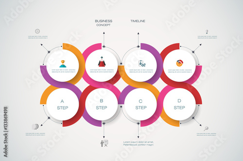 Vector Infographics Templates With 3D Paper Label Integrated