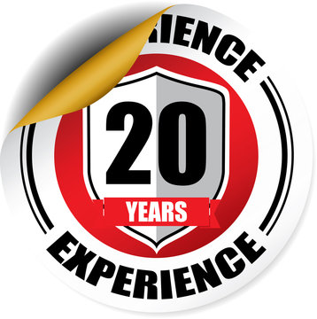 20 years experience red sticker, button, label and sign.