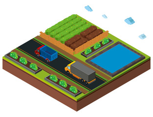 3D design for farm scene with trucks on road
