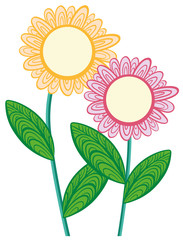 Doodle flowers in yellow and pink