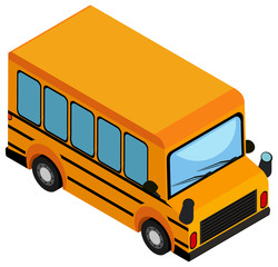 Yellow school bus on white background