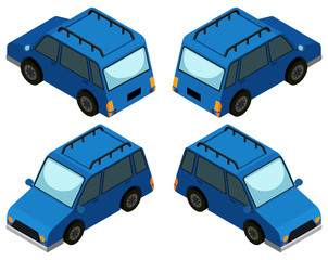 Blue van from four different angles