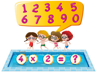 Kids at swimming pool counting numbers