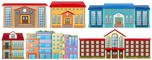 Different designs of buildings.