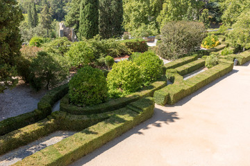 View of the beautiful park of Templar castle in Tomar, Portugal