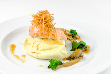 Salmon with mashed potatoes and gravy on a plate on a white background, closeup