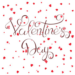 Valentines Day lettering and petals
