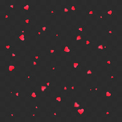 Valentines petals falling on transparent background