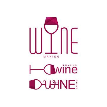 wine tasting logo vector, wineglass