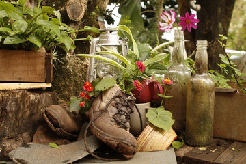 Garden still life with old boots