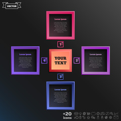 Vector infographic design with colorful square.