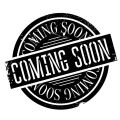 Coming Soon rubber stamp. Grunge design with dust scratches. Effects can be easily removed for a clean, crisp look. Color is easily changed.