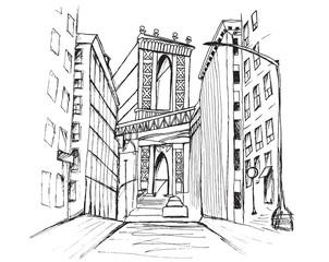 Panorama miasta Nowy Jork. Rysunek ręcznie rysowany na białym tle.