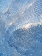 Beautiful ice pattern and sunlight