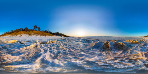 360 180 panorama of snow sunrise wave on the shore of Olkhon. Ba