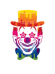 Clown head, smile face designed using melting colors graphic vector.