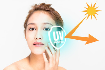 beautiful woman and sunscreen, UV protection.