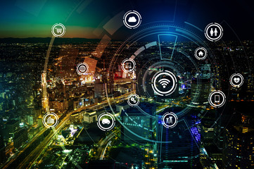 smart city and wireless communication network, IoT(Internet of Things), ICT(Information Communication Technology), digital transformation, abstract image visual Wall mural