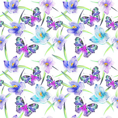 Wild, blue flowers snowdrops and buttrfly, pattern, watercolor