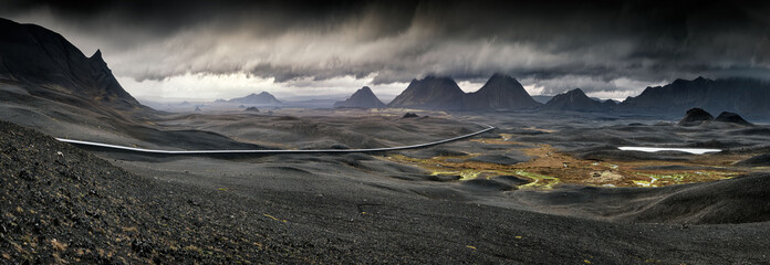 Foto auf Leinwand Insel Myvatn, Iceland - Long winding road through volcanic landscape