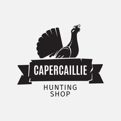 Vintage style vector hunting shop logo with grouse silhouette