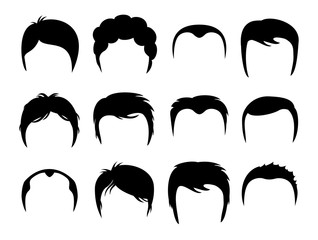 Men vector silhouette shapes of haircuts