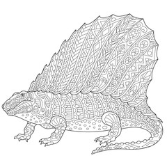Stylized dimetrodon dinosaur, fossil reptile of the Permian period, isolated on white background. Freehand sketch for adult anti stress coloring book page with doodle and zentangle elements.